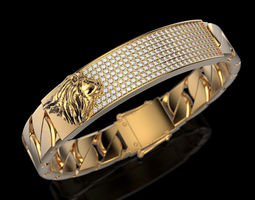 jewellery Bracelet with lion 3D printable model