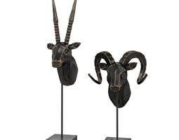 Bronze Rams Carved Sculptures 3D asset