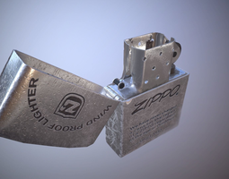 game-ready Low poly zippo model with texture included