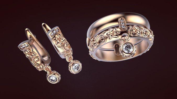 set ring and earring 1 3d model stl 3dm 1