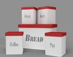 Kitchen Container Set - Bread Bin- Tea- Coffee- 3D model 1