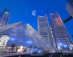 city scene night 3D asset