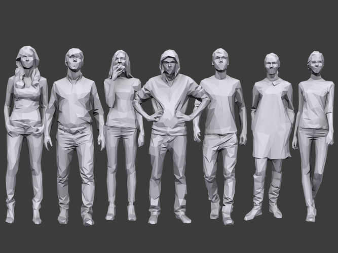 lowpoly people casual pack volume 12 3d model low-poly max obj mtl fbx 1