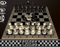 3D asset VR / AR ready CHESS AND CHECKERS