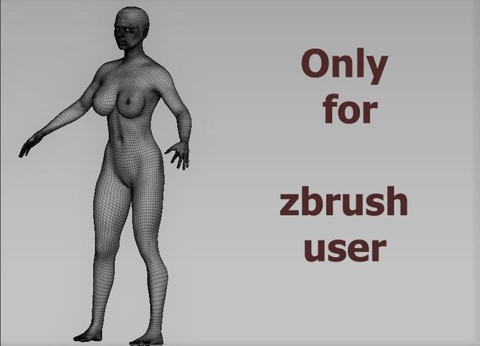 base women 3d model low-poly ztl 1