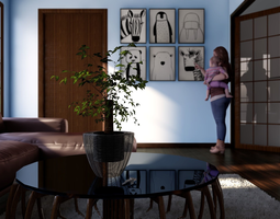 3D rigged small living room