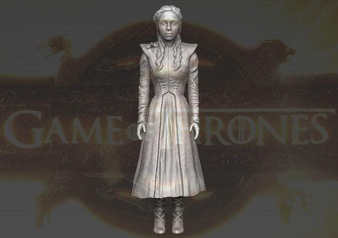 daenerys targaryen game of thrones 3d printing ready stl obj 3d model obj stl wrl wrz 1