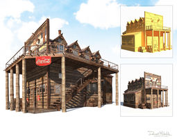 3D model Wild West Hotel Building Low Poly