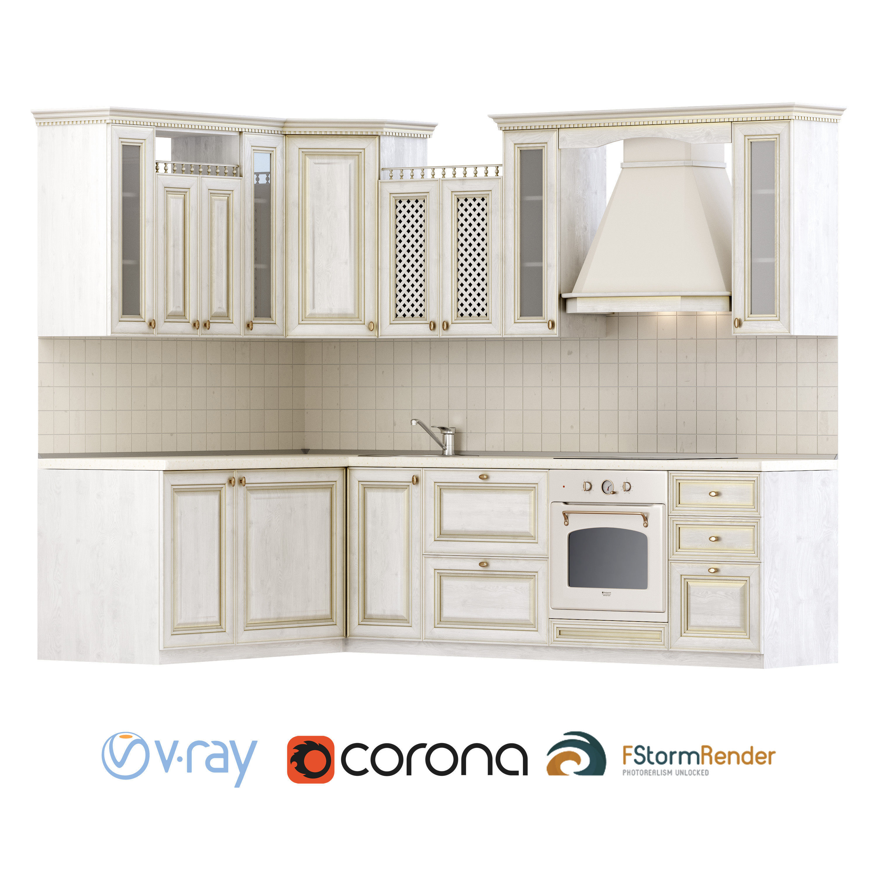 3d Set For Creating A Classic Kitchen Set Cgtrader