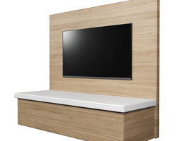 TV Wall Panel With A Flat Screen 3D Model 700 1000 30 Obj Fbx 3ds Dae Mtl