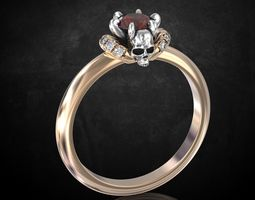 3D printable model Engagement ring and skull with stones 2
