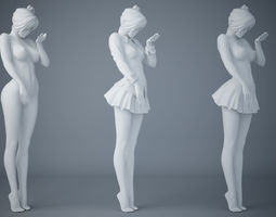 Japanese female student uniforms two 3D printable model