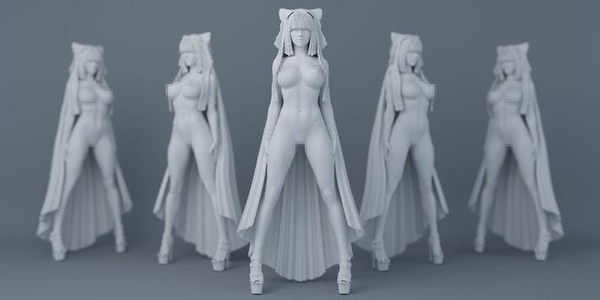 sexy witch with cloak 3d model obj mtl stl 1