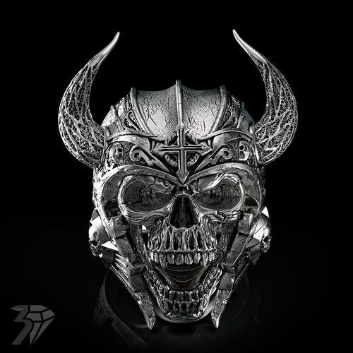 skull ring 3d model obj stl ztl 1