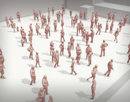3D model Lowpoly People Crowd