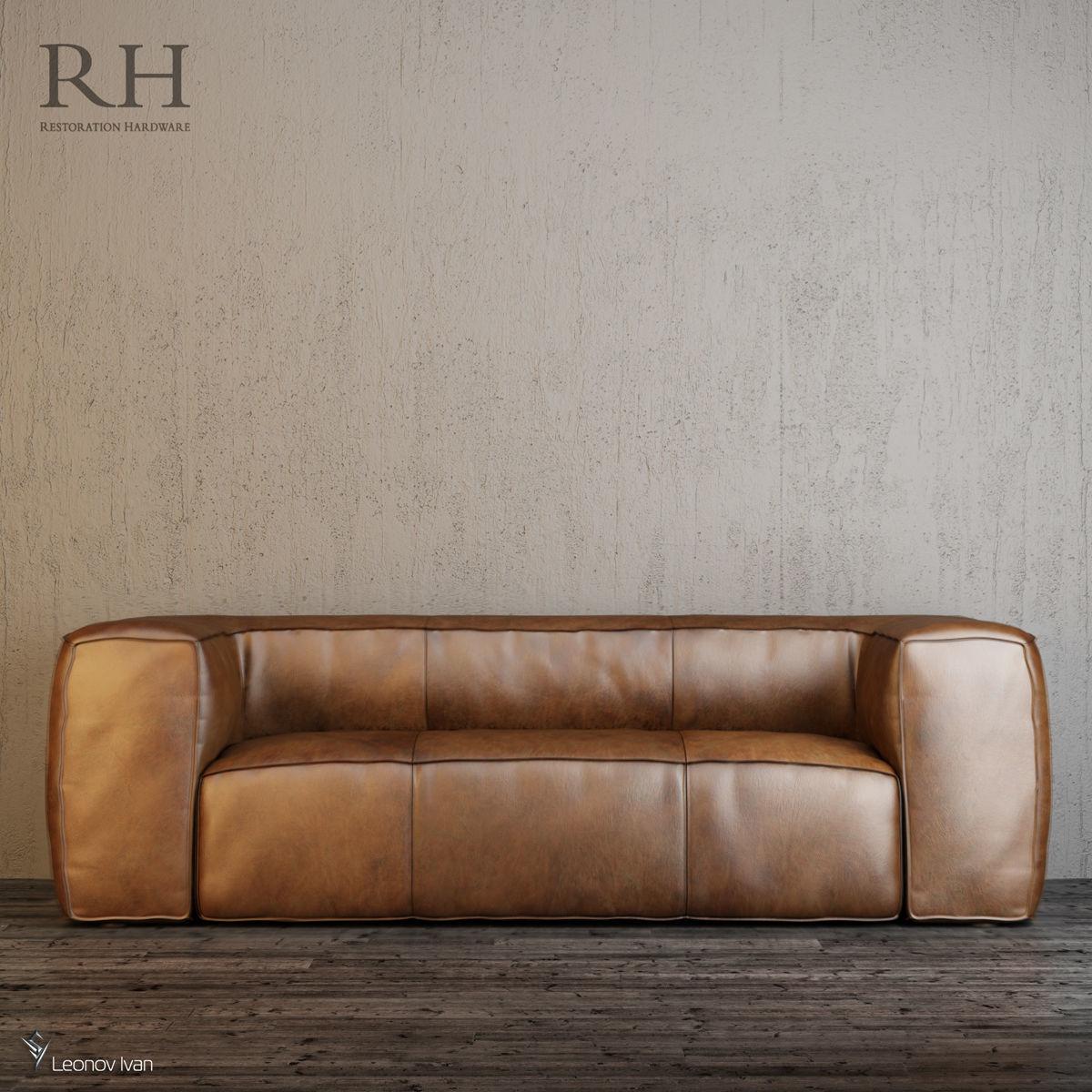 Fulham Leather Sofas 3d Model Max Obj Mtl 3ds Fbx 1 ...
