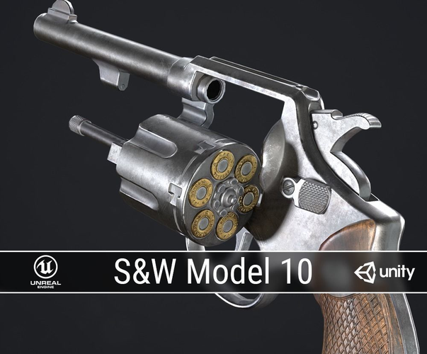 pbr smith and wesson model 10 3d model low-poly obj mtl fbx ma mb dae 1