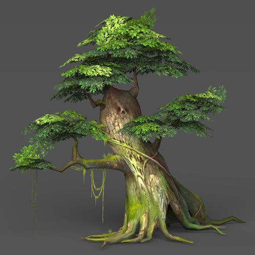 game ready low poly tree 02 3d model low-poly max obj mtl fbx c4d ma mb 1