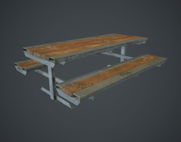 3D asset Skatepark Table With Bench PBR Game Ready