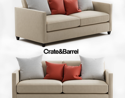 3D Crate and Barrel Dryden Apartment Sofa barrel