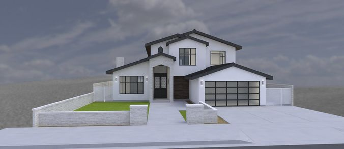 MODERN HOUSE 2 STORY 4 BEDROOMS 2 CAR GARAGE 3D model