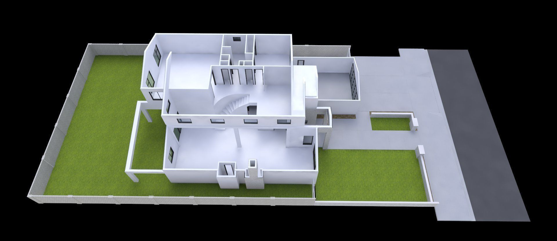 Modern House 2 Story 4 Bedrooms 2 Car Garage 3d Model
