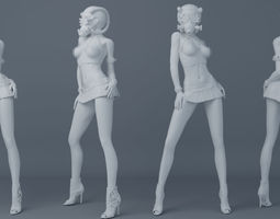 Mask girl wear leather skirt 003 3D print model