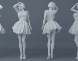 Pretty girl wearing a dress 003 3D printable model