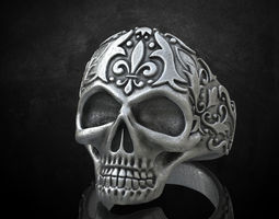 Ring skull with patterns stylish 213 3D print model