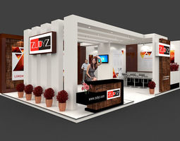 Exhibition stall 3d model 9x6 mtr 2 sides open