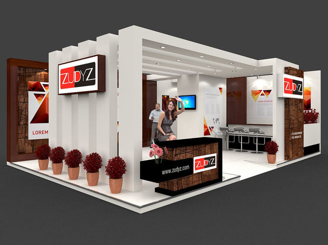 exhibition stall 3d model 9x6 mtr 2 sides open stand 3d model max tga 1