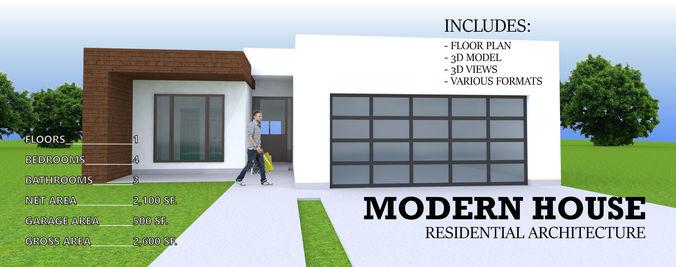 3d Model Modern Residential House 1 Story 4 Bedroom 3 2