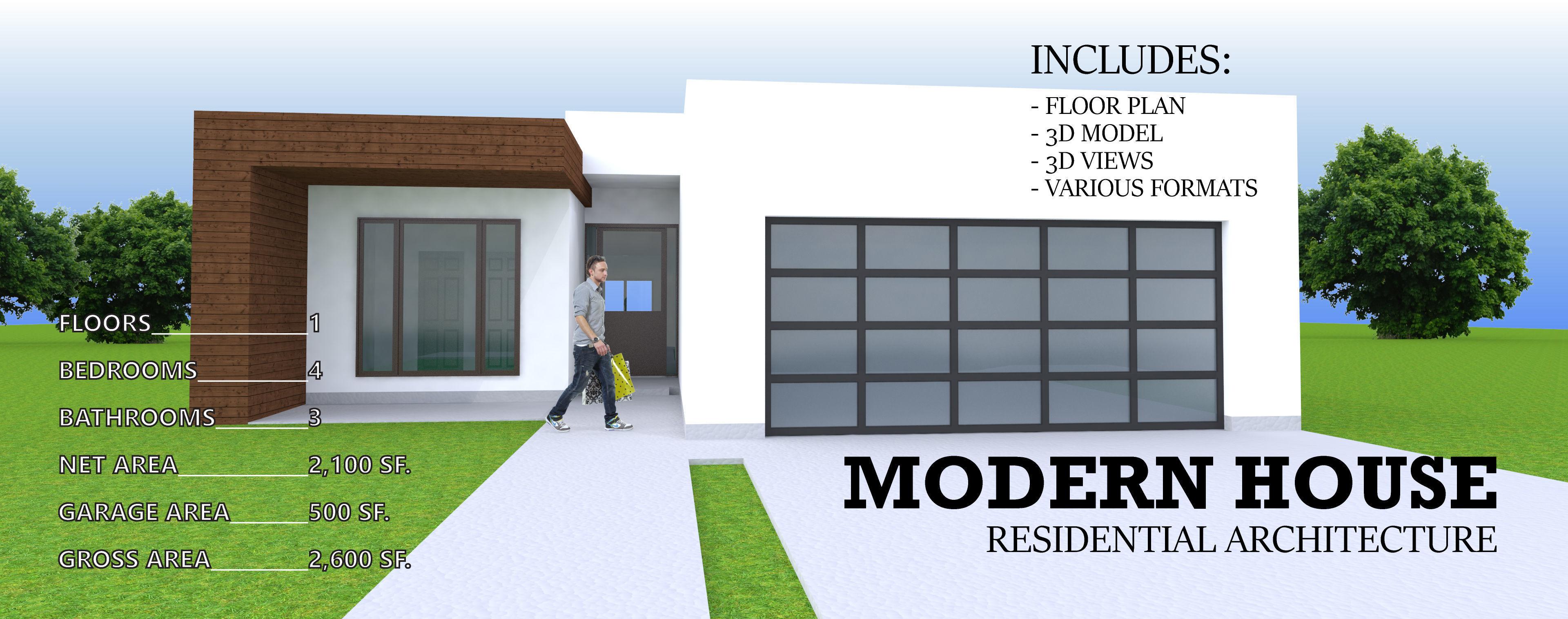 MODERN RESIDENTIAL HOUSE - 1 STORY 4 BEDROOM 3 CAR GARAGE