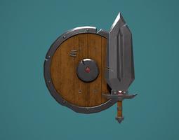 Fantasy Sword And Shield 3D model realtime
