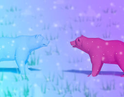 Bear and wolf 3D model