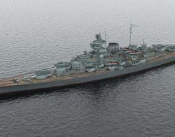 German battleship Tirpitz 3D model rigged
