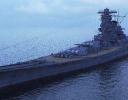 3D asset Japanese battleship Yamato