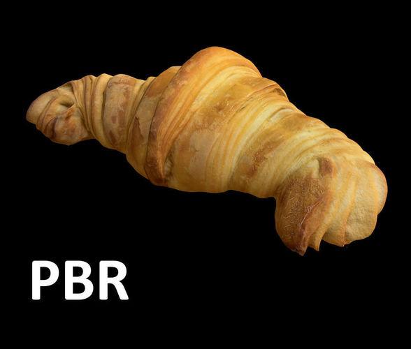 french croissant - pbr 3d model low-poly obj mtl 3ds fbx 1