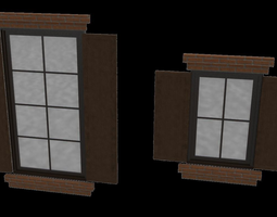 Architectural window with surrounds large and 3D model