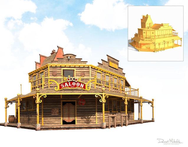 western saloon 3d model max obj mtl 3ds fbx 1
