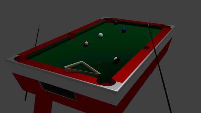 Vintage Pool Table 3d Model Low Poly Blend 1 ...