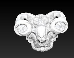 horned ram bust 3D printable model