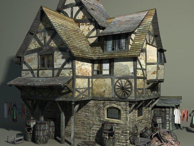 medieval slum 3d model low-poly obj mtl fbx lwo lw lws dae pdf u3d 1