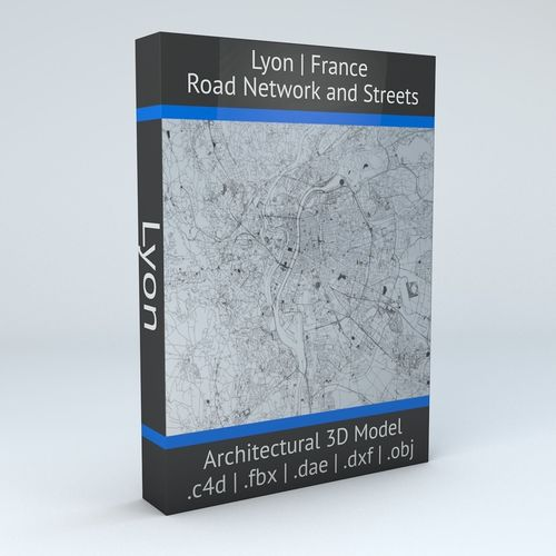 lyon road network and streets 3d model obj mtl fbx c4d dxf dae 1
