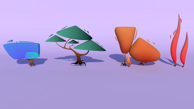trees for the game 3d model obj mtl fbx ma mb 1