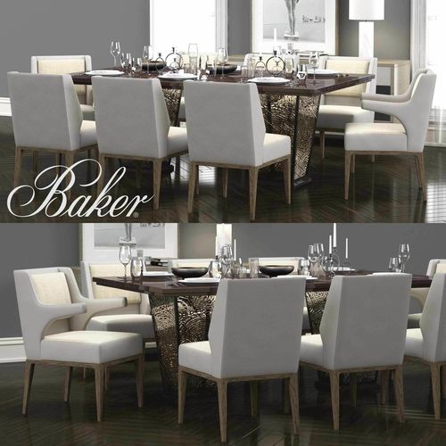 3d Model Baker Kukio Chair Agate Rectangular Dining