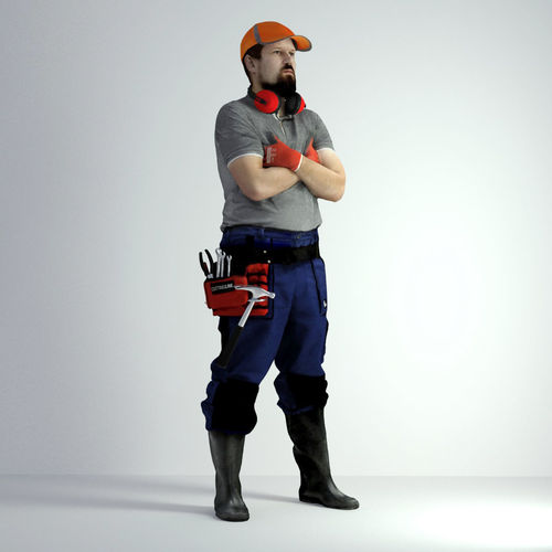 3d scan man worker safety 019 3d model max obj fbx mtl 1