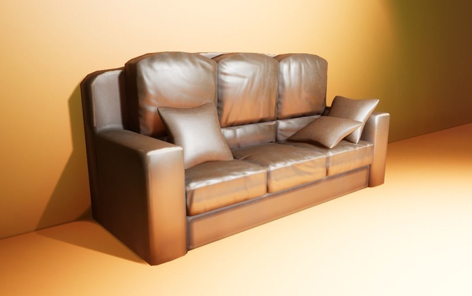 leather couch with pillow 3d model low-poly fbx blend 1