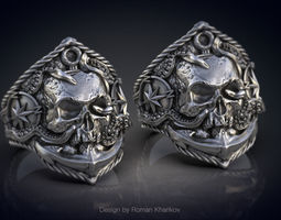 Ring with the skull at anchor 3d model for 3d