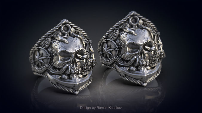 ring with the skull at anchor 3d model for 3d printing 3d model 3ds stl 3dm 1